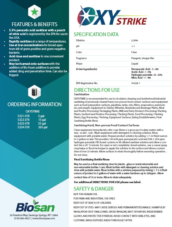 Biosan Oxystrike Data Sheet