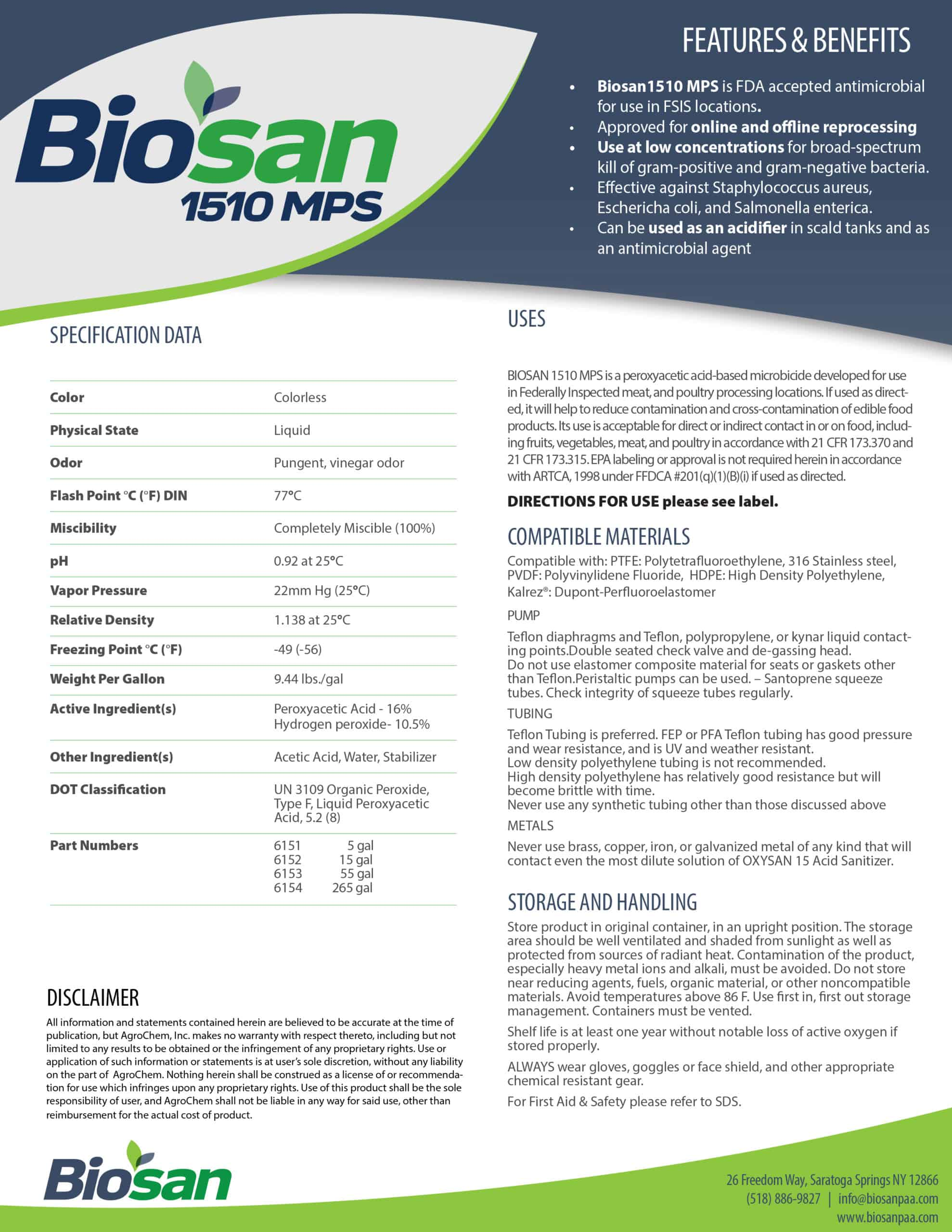 Biosan 1510 MPS Data Sheet