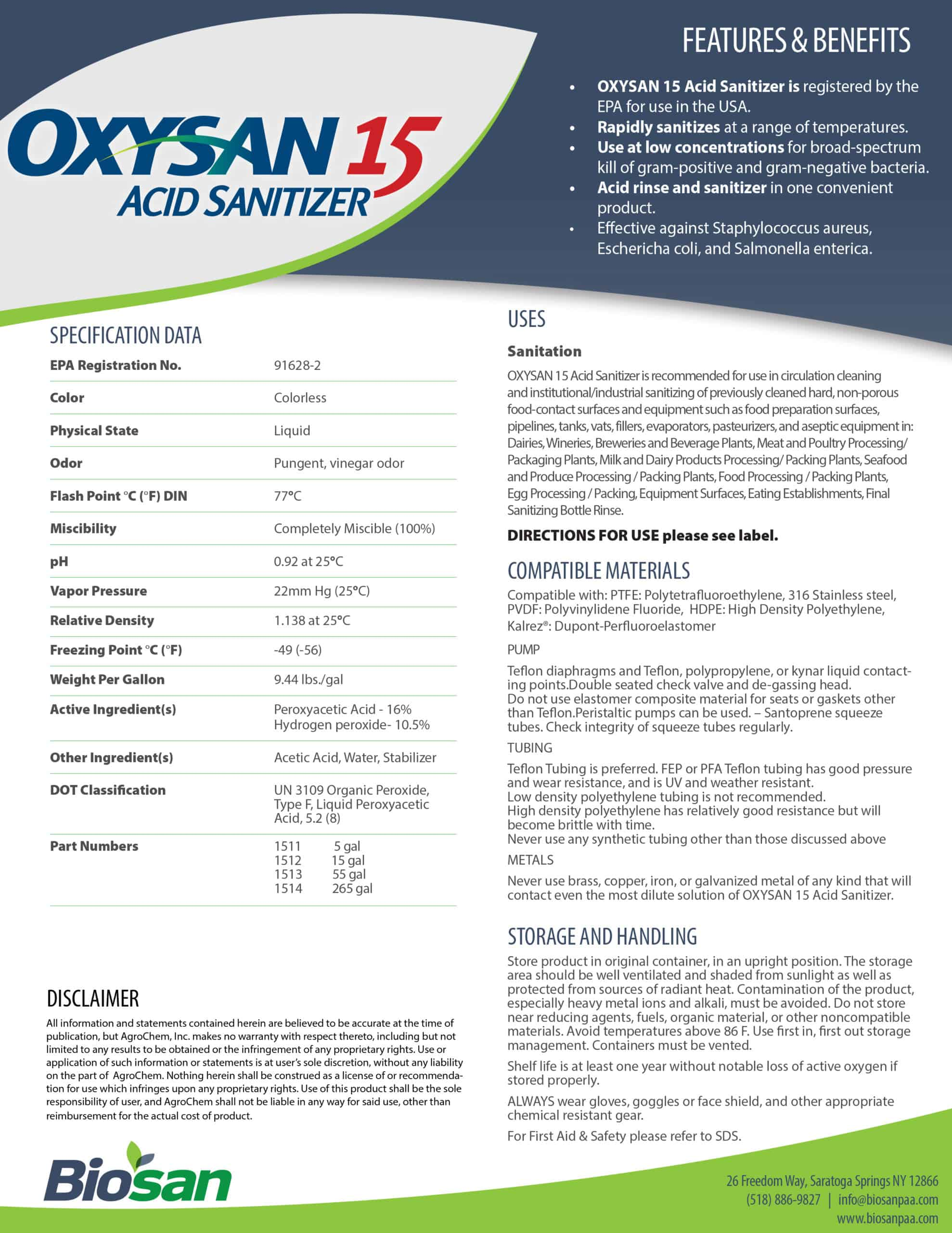 Biosan Oxysan 15 Data Sheet