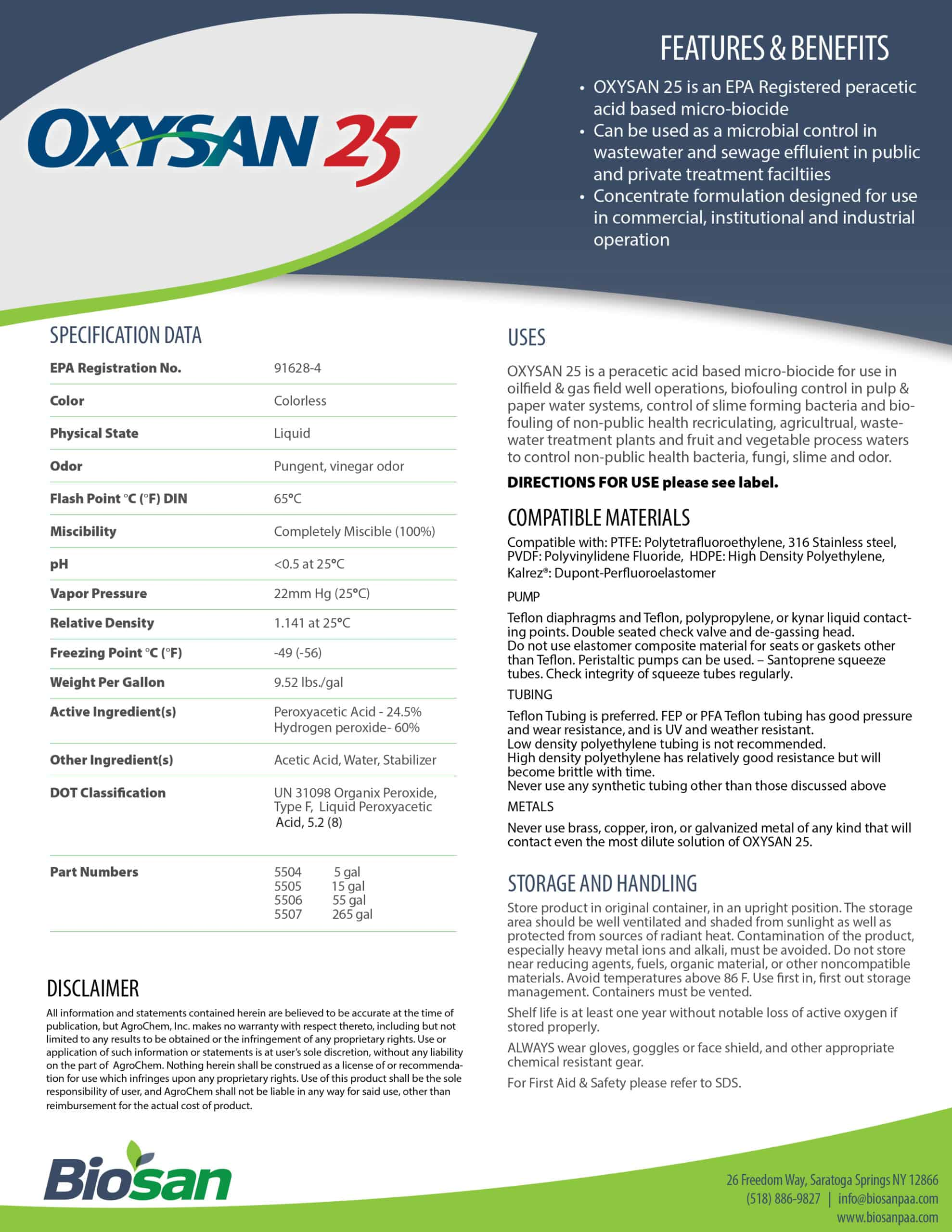Biosan Oxysan 25 Data Sheet
