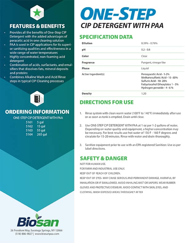 Biosan One-Step PAA Data Sheet